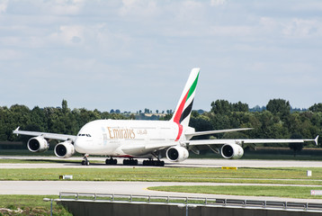 Airbus A380 from the Emirates at the runway of the airport in Munich, Germany on August 17, 2014