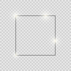 Gray shiny glowing vintage frame with shadows isolated on transparent background. Gray luxury realistic square border.