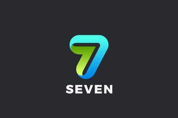 Wall Mural - Number 7 Seven Logo design vector template Ribbon Font style Typography.