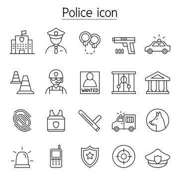 Police icon set in thin line style