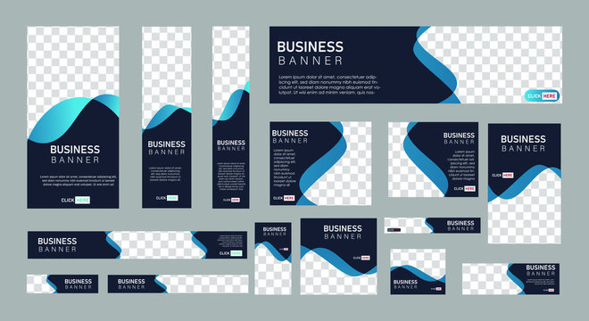 set of creative web banners of standard size with a place for photos.  Business ad banner. Vertical, horizontal and square template. vector illustration EPS 10