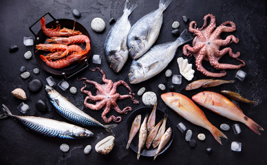 Fresh fish and seafood assortment on black slate background. Top view.