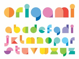 Ludic children paper fold (origami) style vector typeface. Flat geometric lowercase font. Decorative Typography.