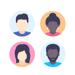 Avatars, default photo placeholder, multiracial profile pictures