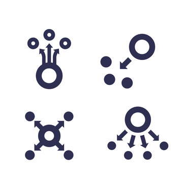 dispersion icons on white, vector