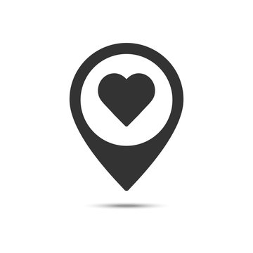 Map pointer with heart solid icon, Valentine's day location and love pin, love concept, vector graphics, a filled pattern on a white background