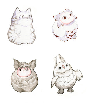 Watercolor and pencil illustration set of funny fluffy fantasy creatures, owls and cats isolated on white