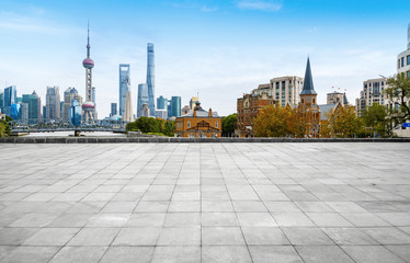 Wall Murals Shanghai Panoramic skyline and buildings with empty concrete square floor,shanghai,china