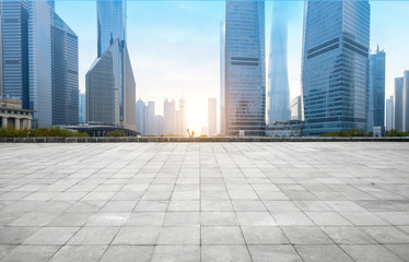 Fototapeten Shanghai Panoramic skyline and buildings with empty concrete square floor,shanghai,china