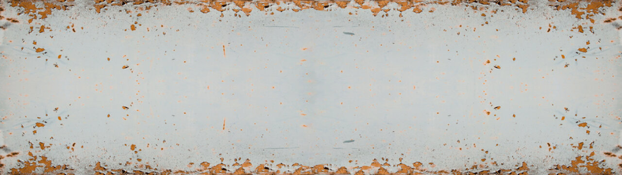 rusty bright white metal wall texture, with space for text, background panorama banner