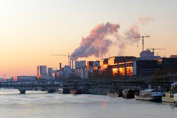 Seine river and Paris 13 th arrondissement