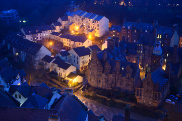 Top view on Dean village in old part of Edinburgh at night, capital of Scotland Fotomurales