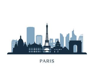Paris skyline, monochrome silhouette. Vector illustration. Fotomurales