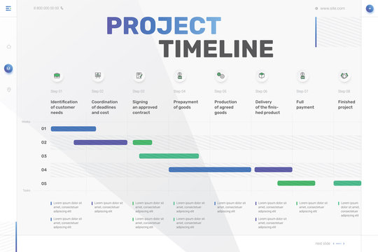 Vector project timeline graph, progress chart of project - eight stages, infographic template. Time plan template with project tasks in time intervals. Easy to use for your website or presentation