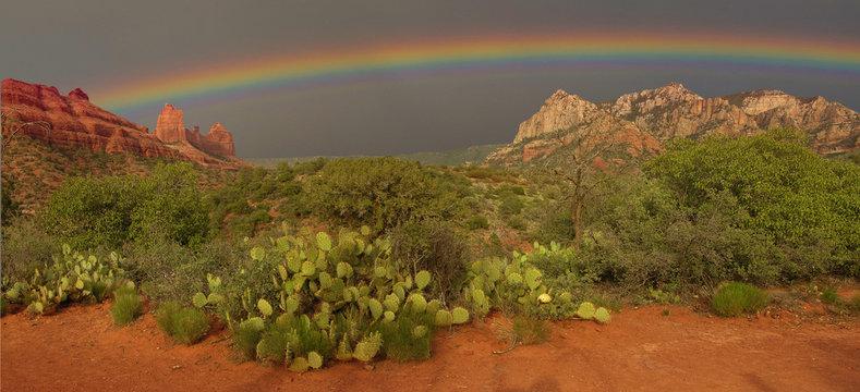 Rainbow over the desert, Arizona