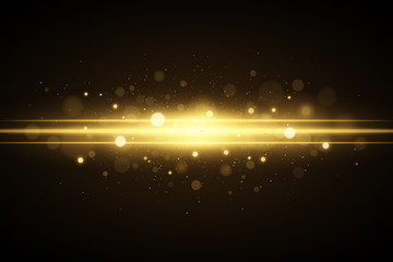 Wall Mural - Abstract magical stylish light effect on a black background. Golden flash with glares bokeh. Christmas glow. Glowing flying dust. Vector illustration