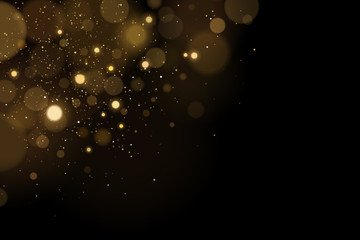 Wall Mural - Abstract flying lights with golden glares bokeh on a black background. Christmas light effect. Random shining particles. Vector illustration