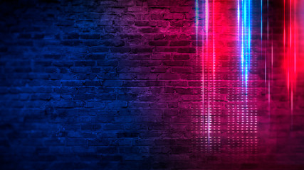 Wall Mural - Old brick wall with neon lights. Neon shapes on brick wall background. Dark empty room with brick walls.