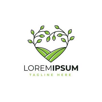 Love nature farm logo design vector