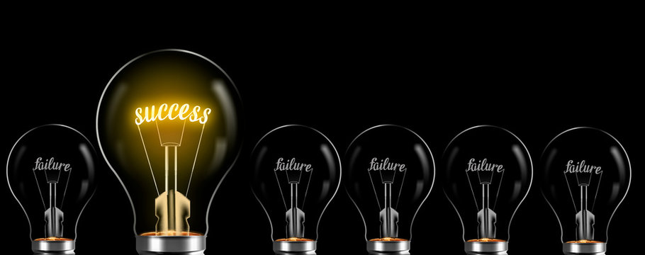 success concept and electric bulb. success word between failure words