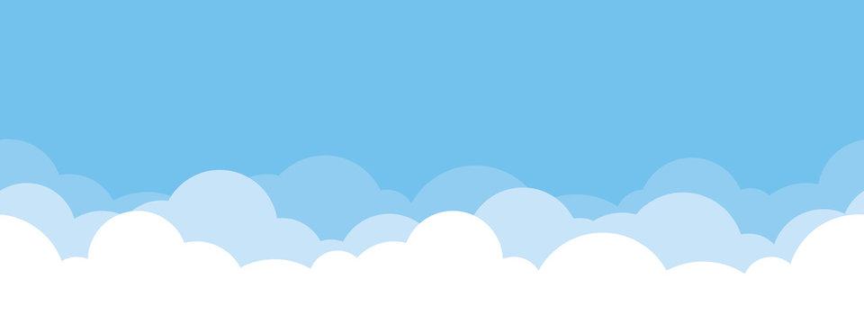 Cute white cloud on bright blue sky bottom border seamless pattern.