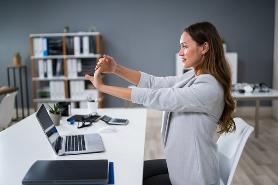 Businesswoman Stretching Her Hand