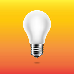 Wall Mural - Light bulb isolated on yellow background.