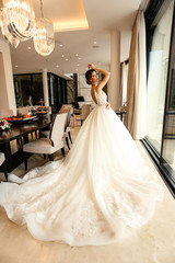 beautiful bride with dark hair in elegant wedding dress posing in luxurious interior