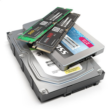 Set of different data storage devices. Hdd, ssd and ssd m2 isolated on white background.