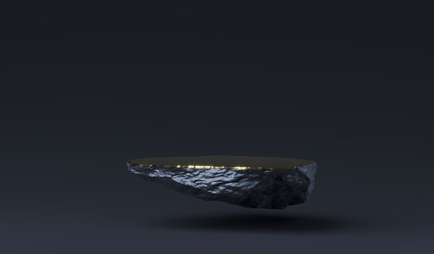 Stone podium for product display. Marble black and gold Pedestal, Product Stand. 3D Rendering. Blank for mockup design. Minimalistic object placement, cosmetic product stone plate platform.