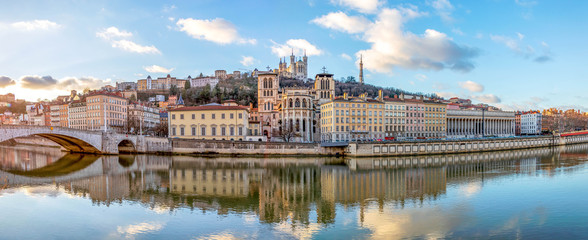 Cathedral Saint Jean and Basilica Notre-Dame de Fourviere, iconic symbols of Lyon, Rhone, France Wall mural