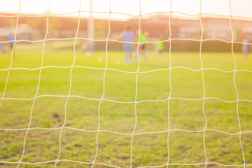 Picture of football goal net in school