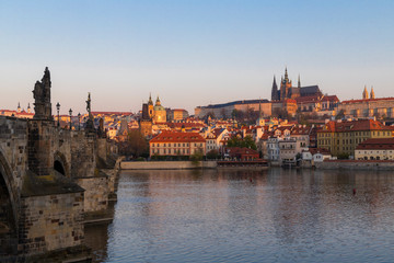 Fototapete - Panorama of Hradcany at sunrise, Czech Republic