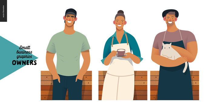 Owners -small business owners graphics. Modern flat vector concept illustrations - young woman wearing white apron, with cup, young man with cat, young man baseball cap, standing at the wooden counter