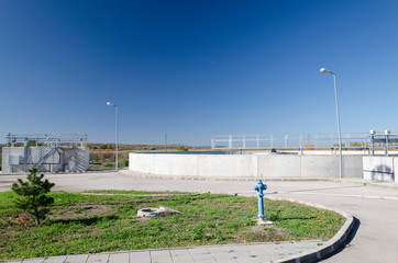 View to sewage treatment plant - water recycling. Waste management.