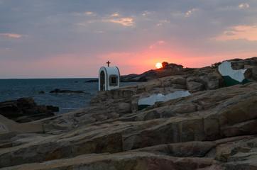 Sunrise Landscape of the rocks at the coastline of Chernomorets, Burgas region