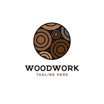 Wood log  illustration design template.Wood work logo design vector.