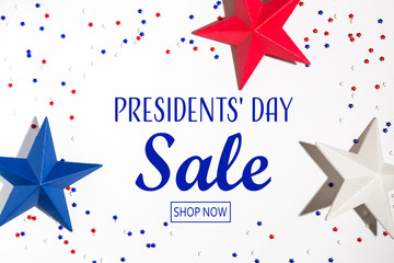 Presidents day sale message with red and blue star decorations Wall mural