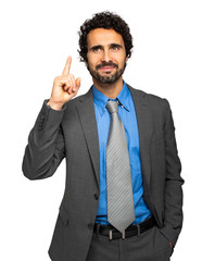 Confident manager isolated on white background having a brilliant idea