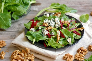 Wall Mural - Vegetable salad with chard leaves,red beet, nuts and cheese