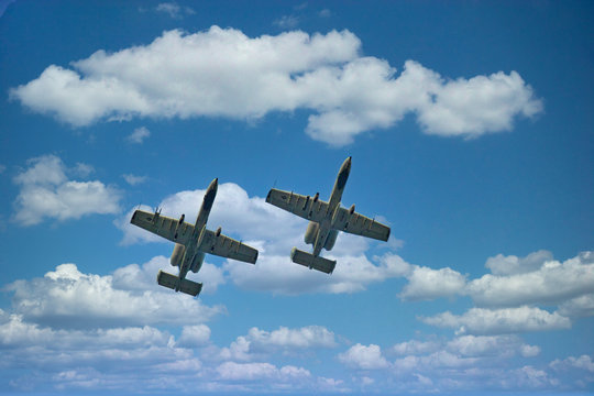 Flyover by two A10 Warthog Fighter planes