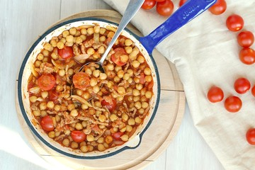 Wall Mural - Healthy gluten free meal from chickpea,meat and tomato on pan