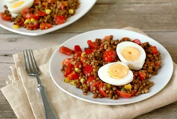 Wall Mural - Fresh salad with lentils,tomato,pepper,sweet corn and egg on white plate