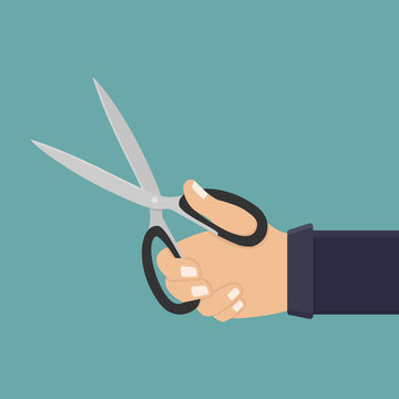Hand hold scissors flat design vector illustration