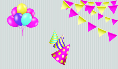 Birthday greeting card with party hats, bunting flags and balloons. Vector EPS10