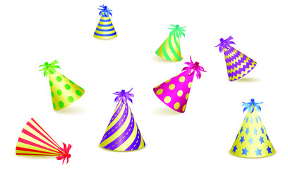 Set of party hats isolated on white background. Design for greeting card or Carnival card. Vector illustration EPS10