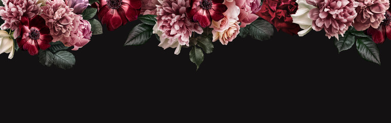 Floral banner, header with copy space. Pink peony, white roses, red anemone, purple tulip isolated isolated on dark background. Natural flowers wallpaper or greeting card.