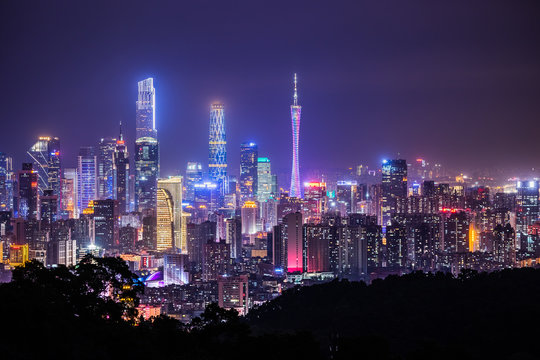 night view in city of Guangzhou China