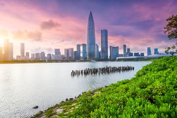 park under sunset in city of Shenzhen China