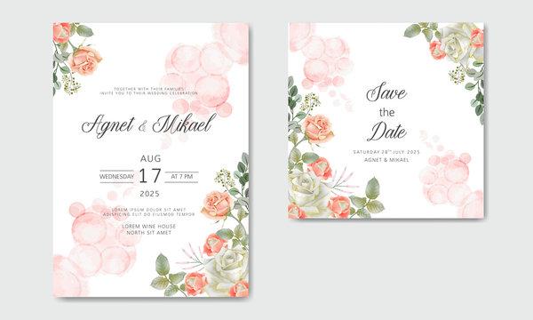 romantic and beautiful flower wedding cards invitation